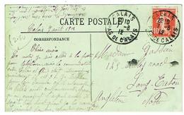 DAGUIN BORGNE DE CALAIS SUR CPA POUR L'ANGLETERRE - Maschinenstempel (Sonstige)
