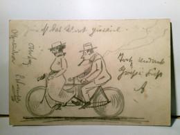 Alte AK S/w. Gel. 1898. Bleistiftzeichnung. Paar Auf Tandem - Ohne Zuordnung