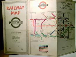 Railway Map. London. Underground Transport. Faltplan Farbig, Beidseitig Mit Netzplänen. No I. - 1937. Subway, - Ohne Zuordnung