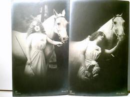 Vintage / Nostalgie. Filmschauspielerin Henny Porten Mit Schimmel. Set 2 X Alte AK S/w. Ungel. Ca 1910 / 15. A - Ohne Zuordnung