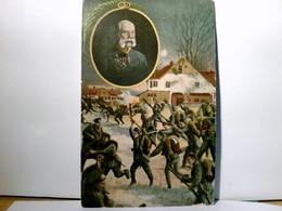 Portrait Von Kaiser Franz Josef I. Und Soldaten In Der Schlacht. Alte AK Farbig, Gel. 1915. Militaria, I. WK - Ohne Zuordnung