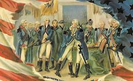 WASHINGTON En Conférence Avec Ses Officiers - Guerre D'Independence Independance - Carte Postale Gaufrée - Presidents