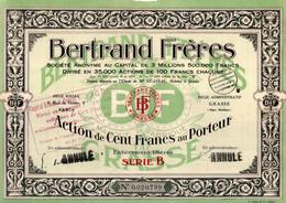 Action De 100 Frcs Au Porteur - Bertrand Frères - Textiles - Détachant - Paris - Grasse - Alpes Maritimes. - Textil