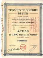 Action De 2500 Frcs Au Porteur - Tissages De Soieries Réunis - Paris 1951. - Textil