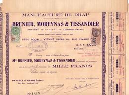 Action De 1000 Frcs Au Porteur - Manufacture De Drap - Brenier, Moreynas & Tissandier - Vienne - Isère - 1929. - Textil