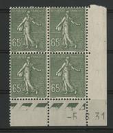 N° 234 Coin Daté Du 5/6/31. Type Semeuse. Neuf * (MH). TB - 1930-1939