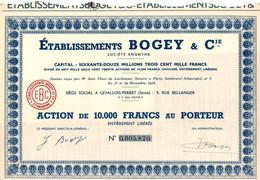 Action De 10000 Frcs Au Porteur - Etablissements BOGEY & Cie - Fabrication De Bas - Levallois-Perret - Seine - 1954. - Textil