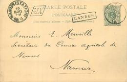Belgique - 2 Cartes-Postale 1913 - Oblitérée '' EST 1 '' Avec Griffe Encadrée ''LANDEN '' Et ''MX'' - Langstempel