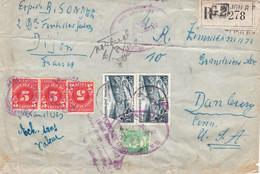 Devant De Petit Paquet Recommandé De Friandises Afft à 85F Dijon Mai 1950 Pr Les USA Taxe Douane à L'arrivée - Postal Rates