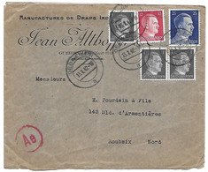 Env. 1942 Gebweiller(Alsace-Lorraine) Pour Roubaix - Timbres1941-43 Allemagne - 2. Weltkrieg 1939-1945