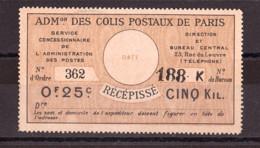 Colis Postaux Paris Pour Paris - Récépissé N° 23 - Otros