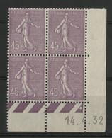 N° 197 Coin Daté Du 14/4/32. Type Semeuse Lignée. Neuf * (MH). TB - 1930-1939