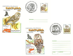 617  Chevêche D'Athéna, Chouette Boréale: 2 PAP (2001), Oblit. Temp. Concordantes - Little Owl + Tengmalm's Owl. Hibou - Owls