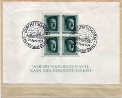 """ALLEMAGNE  : OBL . """" BERCHTESGADEN """" . BLOC DE 4 . 1937 . - Covers & Documents"""