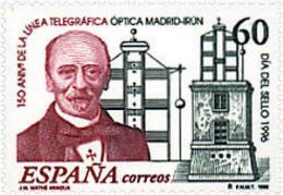 Ref. 85475 * NEW *  - SPAIN . 1996. STAMP DAY. 150 ANNIVERSARY OF OPTICAL TELEGRAPH LINE MADRID-IRUN. DIA DEL SELLO. 150 - 1991-00 Nuevos & Fijasellos