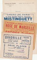 Lot De Papiers Casino De Paris Avec Mistinguett  ,theatre De La Madeleine ,alcazar De Paris Annee 30 - Advertising