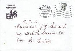 Coq Wallon Sur Lettre à En-tête De La Ville De Charleroi (30/09/1990) - Briefe U. Dokumente