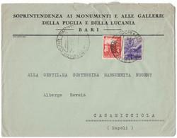 IW90   Storia Postale 1948 Democratica £.4 E £.6 Su Busta Bari Per Casamicciola - 1946-60: Marcofilie