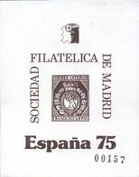 Ref. 273151 * NEW *  - SPAIN Vignettes . 1975. PHILATELIC SOCIETY OF MADRID. SOCIEDAD FILATELICA DE MADRID - Variedades & Curiosidades