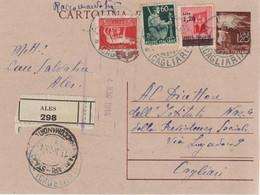 68-Democratica In Centesimi-Intero Postale-Mista Con Luogotenenza.Storia Postale Repubblica 1946-uso 5L.-Ales X Cagliari - 1946-60: Marcofilie