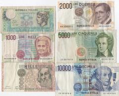 Série De 6 Billets 1979-1990 : 500 - 1000 - 1000 - 2000 - 5000 - 10000 Lire - Unclassified