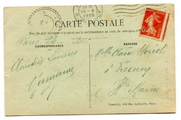 RC 19278 FRANCE 1920 SEMEUSE VARIÉTÉ JOLI PIQUAGE A CHEVAL SUR CARTE POSTALE DE PARIS - 1877-1920: Semi Modern Period