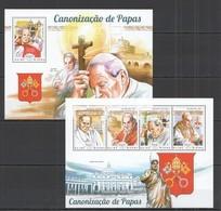 ST1118 2014 GUINE GUINEA-BISSAU CANONIZATION POPES JOAO PAULO II JOAO XXIII KB+BL MNH - Papes