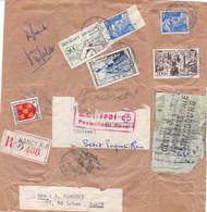 Devant De Petit Paquet Recommandé 580g Nancy 8 1 1954 Afft à 189F Pr La Suisse Visé Par Les Douanes à Strasbourg Et Bâle - Postal Rates