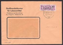 Sonneberg Thüringen Großhandelskontor 18.12.57, ZKD-Brief Mit 20 Pfg. B11 Streifen Kreisaufdruck 1207 - Service
