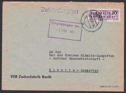 Barth VEB Zuckerfabrik 2.8.57, ZKD-Brief Mit 20 Pfg. B11 Streifen Kreisaufdruck 1005 Nach Ribnitz - Damgarten - Service