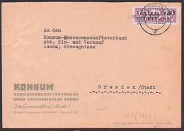 Grevesmühlen Mecklenburg KONSUM 14.12.57, ZKD-Brief Mit 20 Pfg. B11 Streifen Kreisaufdruck 1003 Nach Dresden - Service