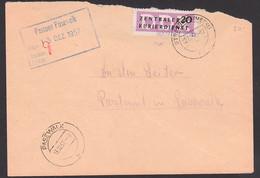 Strasburg Mecklenburg 12.12.57, ZKD-Brief Mit 20 Pfg. B11 Streifen Kreisaufdruck 3009, Postamt Pasewalk, Eing.-St. Vorn! - Service