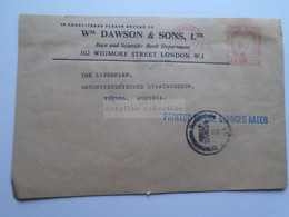 AD047.5  UK  Front Side Of Cover  W. Dawson & Sons Ltd - London - Machine Label - EMA - PPRR -Austrian Censorship 1950 - Briefe U. Dokumente
