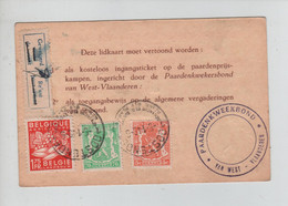 REF2428/ TP 763 Exportation-712-419 S/ Lidkaart Paardenkwekersbond W.V. 52 Frs C.Oostende 5/1/49 Label Geweigerd - Brieven En Documenten