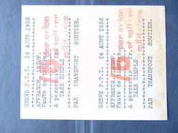Exceptionnelle Et Rare Paire De Vignettes à 15 Francs émise Durant La Grève Des PTT De 1953 - Strike Stamps