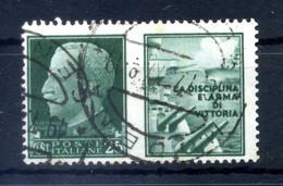 1942 REGNO Propaganda Di Guerra N.1 USATO 25 Centesimi Verde MARINA - Propaganda Di Guerra