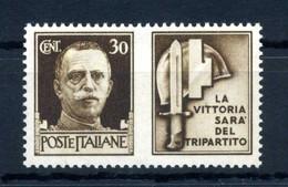1942 REGNO Propaganda Di Guerra N.8 MNH ** 30 Centesimi Bruno MILIZIA - Propaganda De Guerra