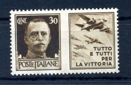 1942 REGNO Propaganda Di Guerra N.7 MNH ** 30 Centesimi Bruno AERONAUTICA - Propaganda De Guerra