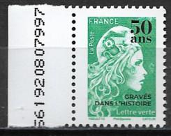France 2020 Neuf ** Gommé  N° 5439  Surchargée   50 Ans Gravés  Dans L'histoire   Valeur Faciale Au 01/01/2021 : 1,08 € - 2018-... Marianne L'Engagée