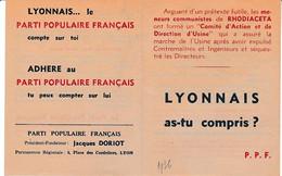 """1936 - Tract P.P.F. PARTI POPULAIRE FRANCAIS (Jacques DORIOT) """"les Soviets à VAISE.. Le Parti Communiste En Demandant - Historische Documenten"""