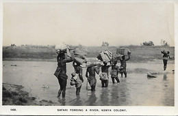 AFRIQUE -  KENYA - CARTE- PHOTO- SAFARI FORDING A RIVER KENYA COLONY - Kenia