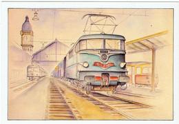 """Paris / Le """" Mistral """" à La Gare De Lyon / Locomotive BB-9200 / Ill. Philippe Perreard - Pariser Métro, Bahnhöfe"""