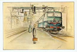 "Dijon / Le "" Mistral "" En Gare  / Locomotive CC-7100 / Ill. Philippe Perreard - Dijon"