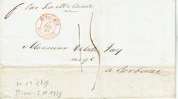 Outremer à Marseille Lettre De Saint Louis Du 5-11-1839 Cachet Rouge Du 21-12-1839 - 1801-1848: Precursori XIX