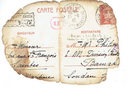 515 CP 1 Entier Pétain 1,20 F. De Saintes 26-6-1942 Pour Bamako (Soudan) Taxe PA Perçue 3,50 F. Accident D'avion - Cartoline Postali E Su Commissione Privata TSC (ante 1995)