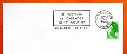 15 VIC SUR CERE   2° FESTIVAL EN CARLADEZ   1987 Lettre Entière N° VW 424 - Sellados Mecánicos (Publicitario)