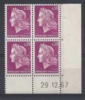 MARIANNE De CHEFFER N° 1536 - BLOC De 4 COIN DATE - NEUF SANS CHARNIERE - 29/12/67 - 1960-1969