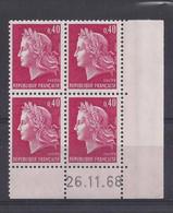 MARIANNE De CHEFFER N° 1536B - BLOC De 4 COIN DATE - NEUF SANS CHARNIERE - 26/11/68 - 1960-1969