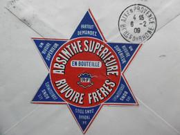 LETTRE PUB ABSYNTHE SUPERIEURE RIVOIRE FRERES MARSEILLE A PAUL RICARD SEMEUSE 20 C BRUN 1909 - 1877-1920: Semi-moderne Periode