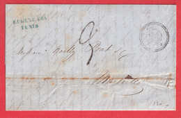 CAD TUNIS TUNISIE BFE TYPE 22 1855 MARSEILLE VIA BONE ALGERIE - 1849-1876: Classic Period